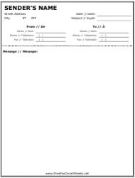 English/French Fax Cover Sheet