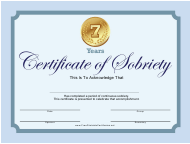 """""""Blue 7 Years Certificate of Sobriety Template"""""""