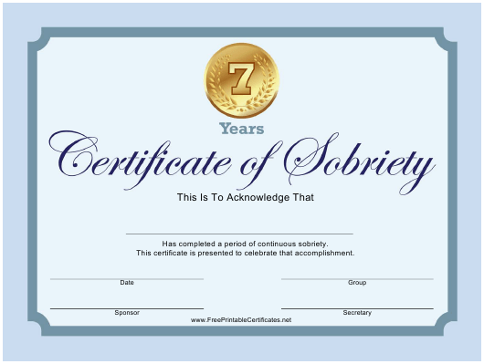 """Blue 7 Years Certificate of Sobriety Template"" Download Pdf"
