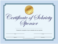 Sponsor Certificate of Sobriety Template