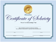 """""""Blue 6 Months Certificate of Sobriety Template"""""""