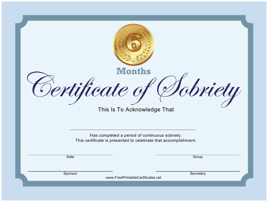 """Blue 6 Months Certificate of Sobriety Template"" Download Pdf"