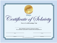 """""""90-day Certificate of Sobriety Template"""""""