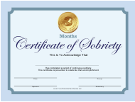 """""""Blue 3 Months Certificate of Sobriety Template"""""""