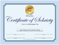 Blue 2 Months Certificate of Sobriety Template