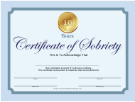 """""""Blue 10 Years Certificate of Sobriety Template"""""""