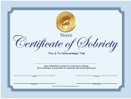 Blue 2 Years Certificate of Sobriety Template