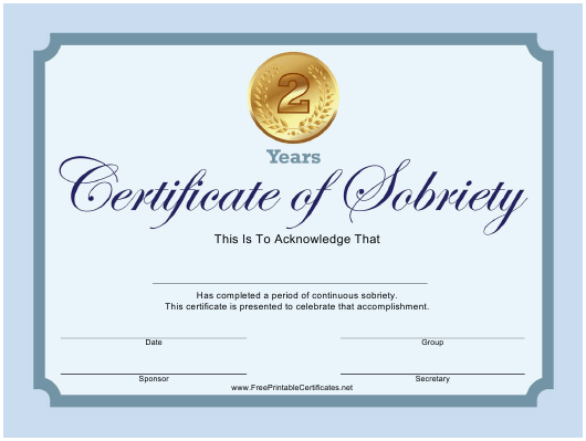"""Blue 2 Years Certificate of Sobriety Template"" Download Pdf"