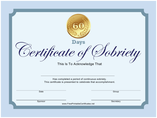 """60-day Certificate of Sobriety Template"" Download Pdf"