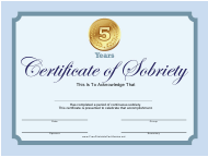 """""""Blue 5 Years Certificate of Sobriety Template"""""""
