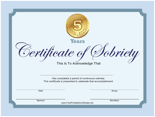 """""""Blue 5 Years Certificate of Sobriety Template"""" Download Pdf"""