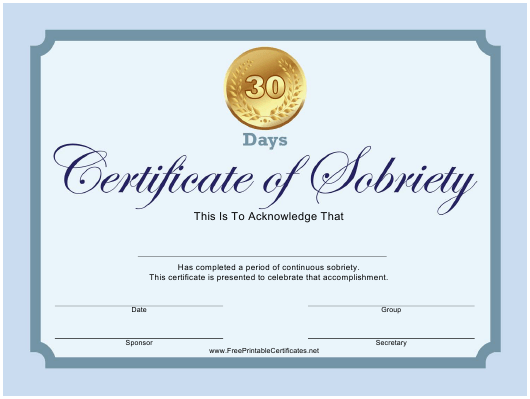 """""""30-day Certificate of Sobriety Template"""" Download Pdf"""