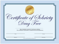 Drug Free Sobriety Certificate Template