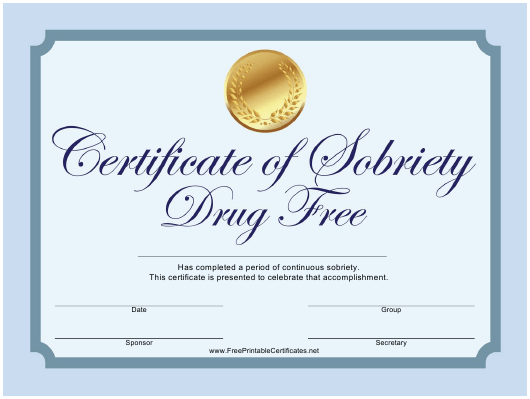 """""""Drug Free Sobriety Certificate Template"""" Download Pdf"""