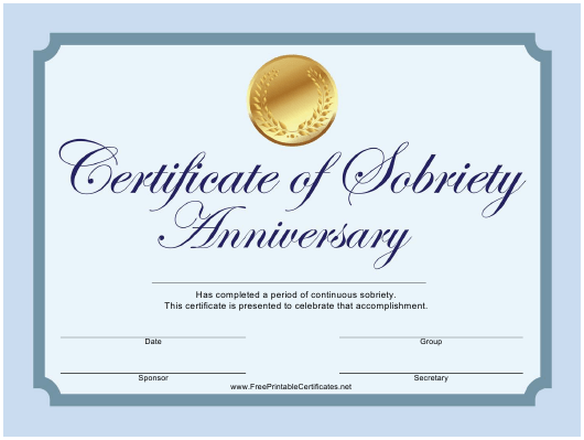 """""""Blue Sobriety Anniversary Certificate Template"""" Download Pdf"""