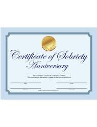 Blue Sobriety Anniversary Certificate Template
