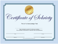 Sobriety Certificate Template