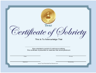 """""""Sobriety Certificate Template"""""""