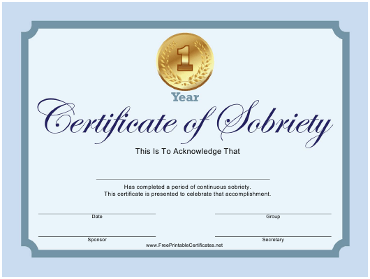 """Sobriety Certificate Template"" Download Pdf"
