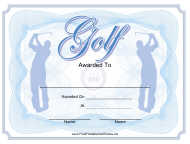 """Blue Golf Award Certificate Template"""