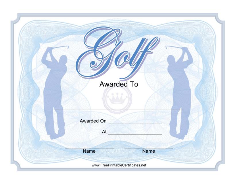 """Blue Golf Award Certificate Template"" Download Pdf"