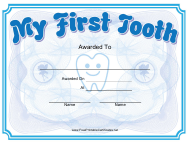 """""""First Tooth Award Certificate Template"""""""