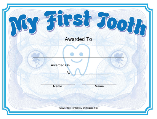 """""""First Tooth Award Certificate Template"""" Download Pdf"""