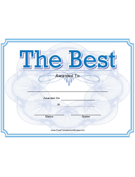 The Best Award Certificate Template