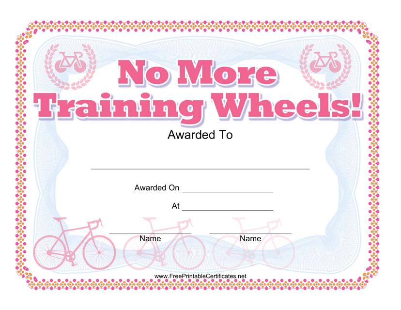 """Bike Award Certificate Template"" Download Pdf"