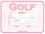 """Pink Golf Award Certificate Template"""