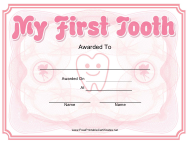 """My First Tooth Award Certificate Template"""