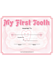 My First Tooth Award Certificate Template