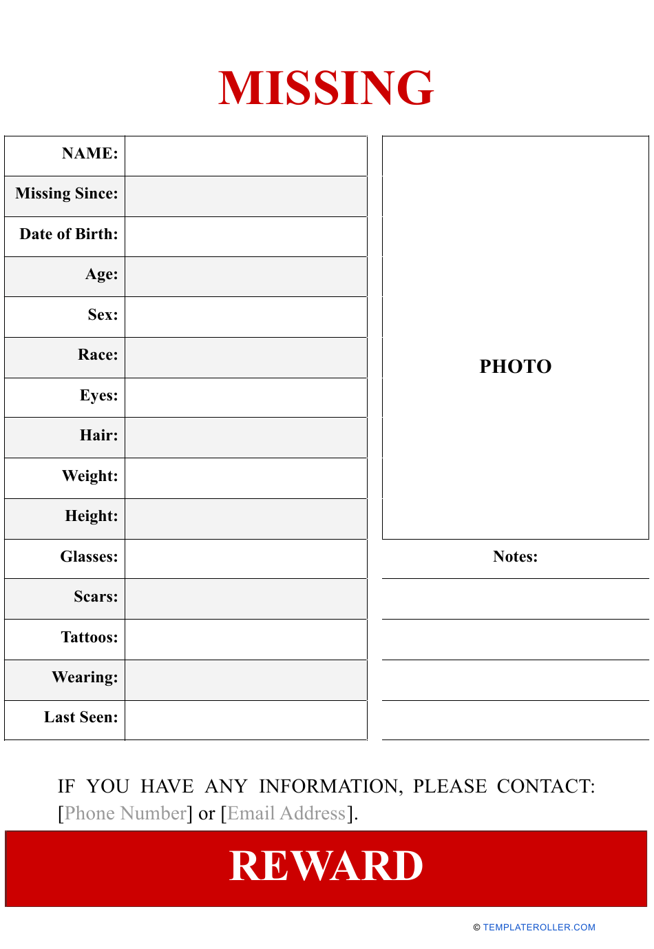 """Missing Person Poster Template With Reward"" Download Pdf"