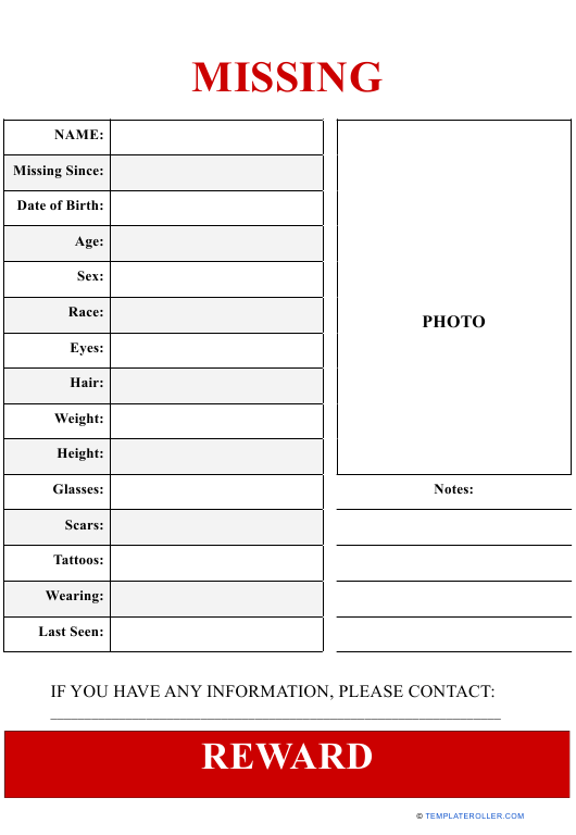 Missing Person Poster Template With One Picture Download Pdf