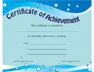 """Swimming Certificate of Achievement Template"""