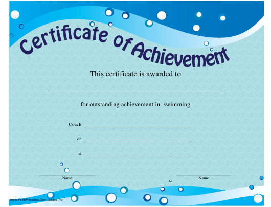 """Swimming Certificate of Achievement Template"" Download Pdf"