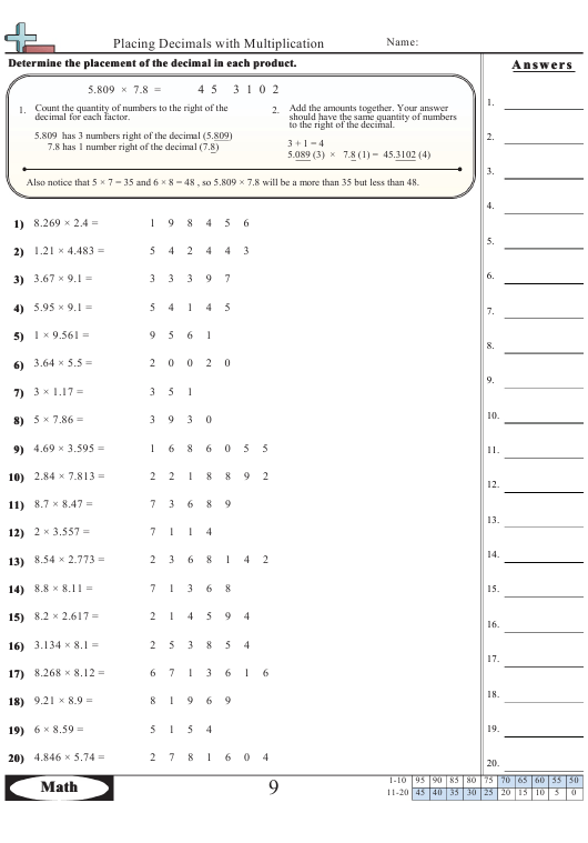 """Placing Decimals With Multiplication Worksheet With Answer Key"" Download Pdf"