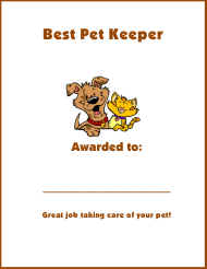 """Best Pet Keeper Award Certificate Template"""