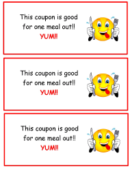 """One Meal out Coupon Template"""