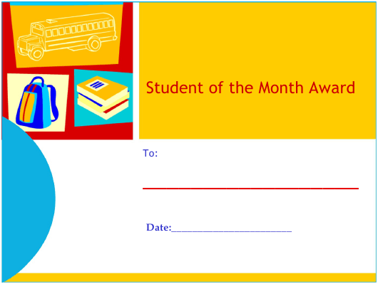 """Student of the Month Award Certificate Template"" Download Pdf"