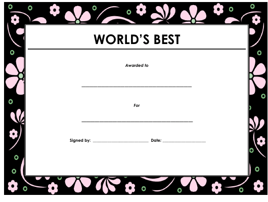 """World's Best Award Certificate Template"" Download Pdf"