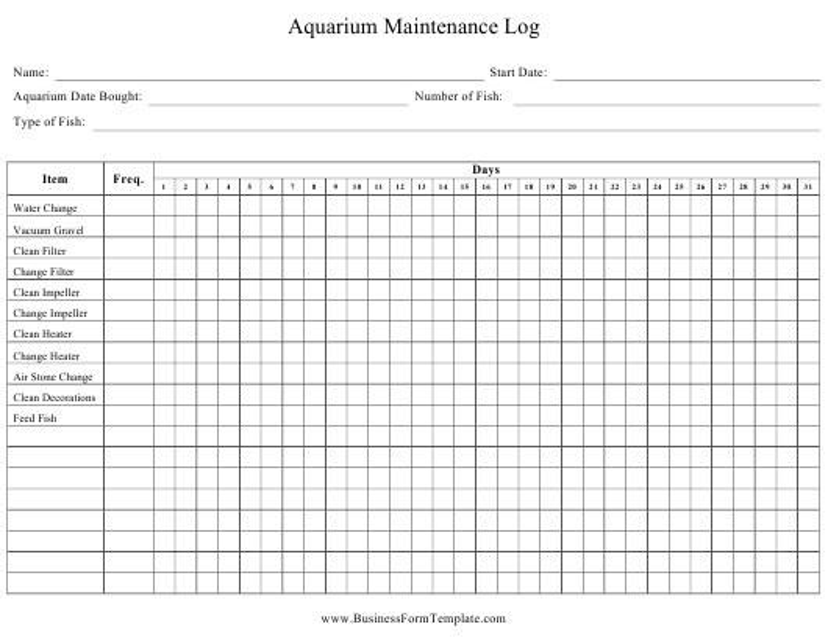 """Daily Aquarium Maintenance Log Sheet"" Download Pdf"