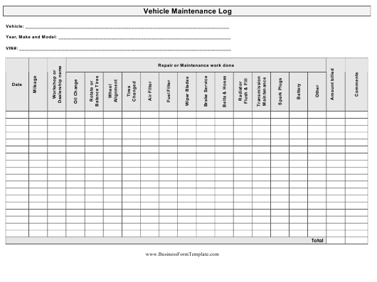 vehicle maintenance log spreadsheet template download printable pdf