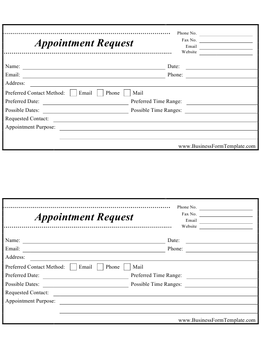 """""""Appointment Request Form"""" Download Pdf"""