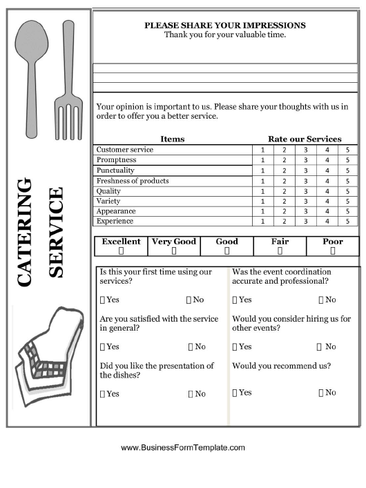 """""""Catering Service Feedback Form"""" Download Pdf"""