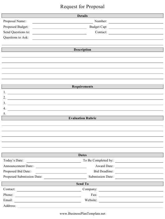 """""""Request for Proposal Template"""" Download Pdf"""