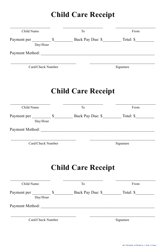 """Child Care Receipt Template"" Download Pdf"