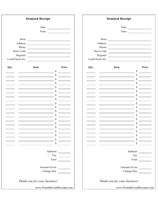 """""""Itemized Receipt Template - Two Per Page"""" Download Pdf"""