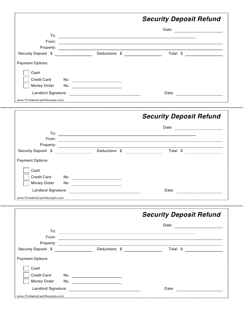 """Security Deposit Refund Form"" Download Pdf"