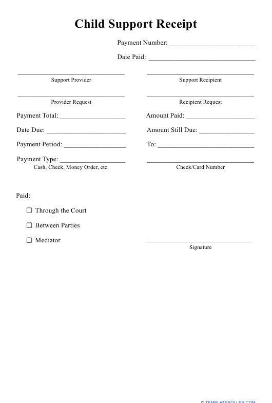 """Child Support Receipt Template"" Download Pdf"